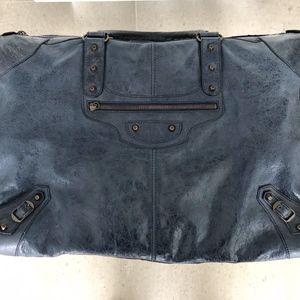 Balenciaga City Weekender Handbag in Navy